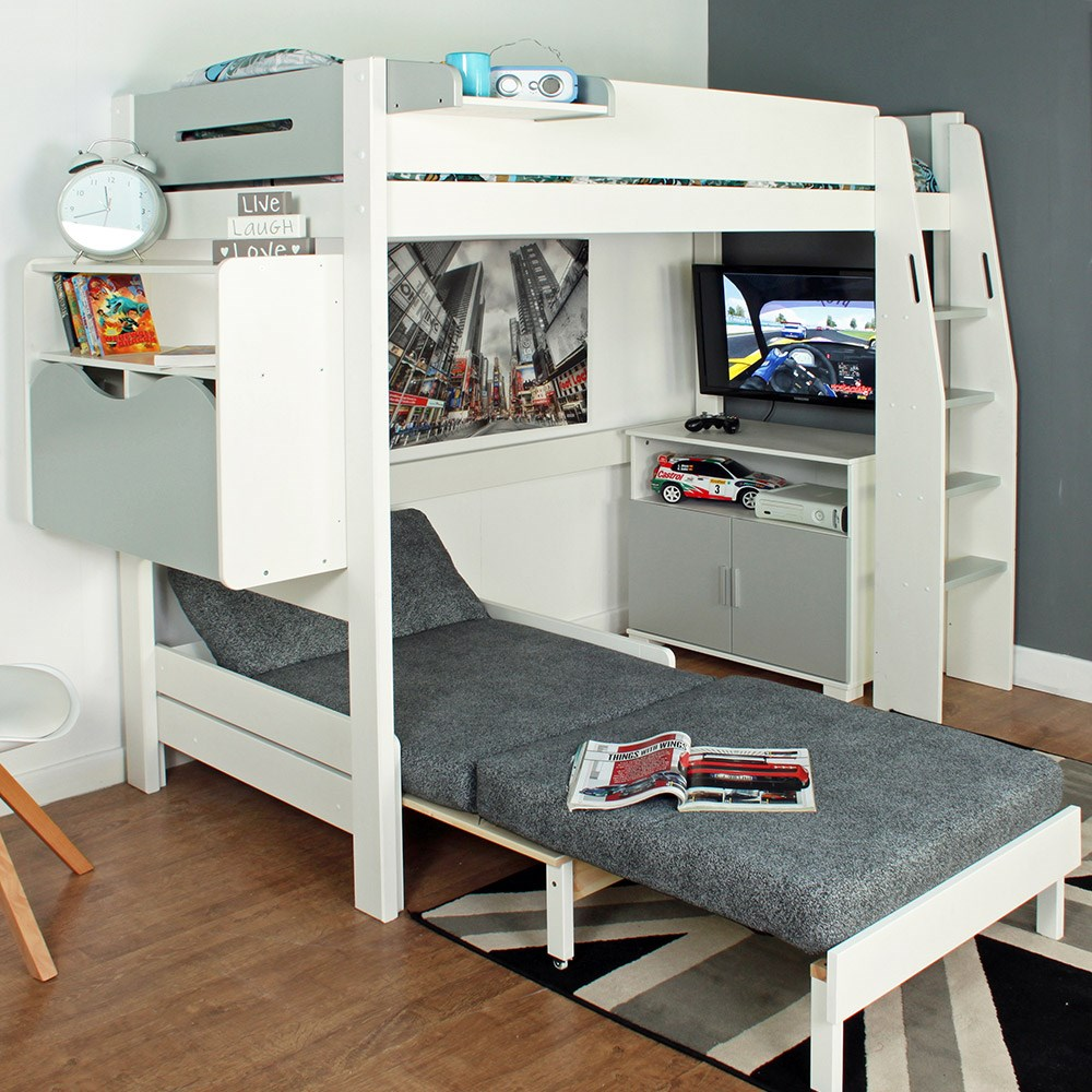 Urban Grey High Sleeper 2 Bed In White & Grey - Kids ...
