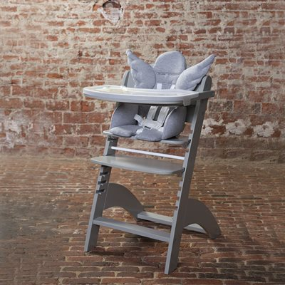 Lambda 2 Wooden High Chair in Stone Grey