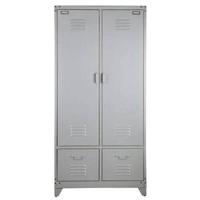 Metal Locker Style Wardrobe in Grey by Be Pure Home