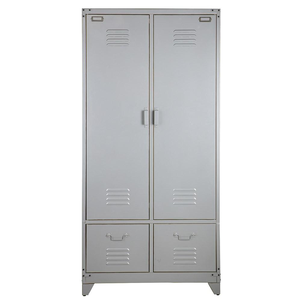 Metal Locker Style Wardrobe In Silver
