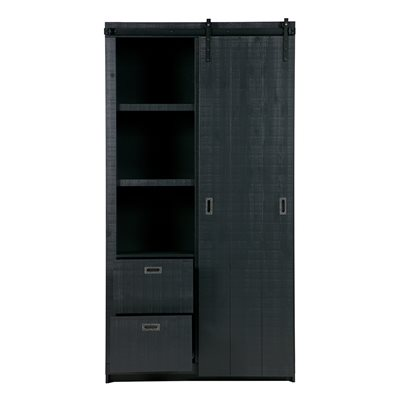 Barn Cabinet with Sliding Door in Black by Woood