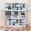 Grey Elegant Glass Bookcase Cabinet