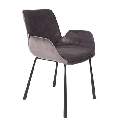 ZUIVER PAIR OF VELVET LOOK BRIT UPHOLSTERED ARMCHAIR in Dark Grey