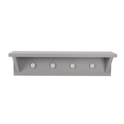 PEBBLES WALL SHELF WITH HOOKS in Grey
