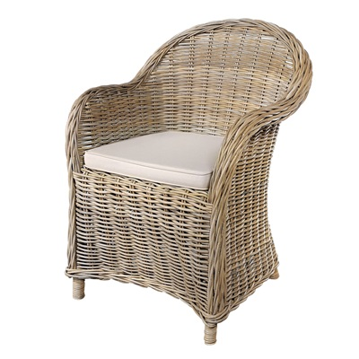 THICK HEAVYWEIGHT WOVEN RATTAN ARMCHAIR in Grey Wash