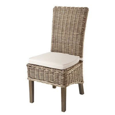 PAIR OF WOVEN RATTAN HIGH BACK DINING CHAIRS in Grey Wash