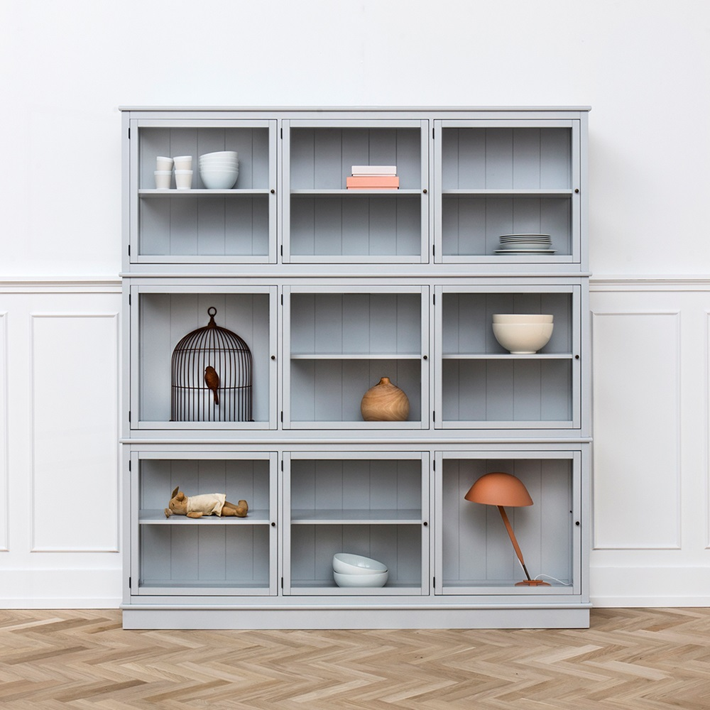 Large glass cabinet in seaside grey cabinets drawers bookshelves - Vitrine cuisine ikea ...