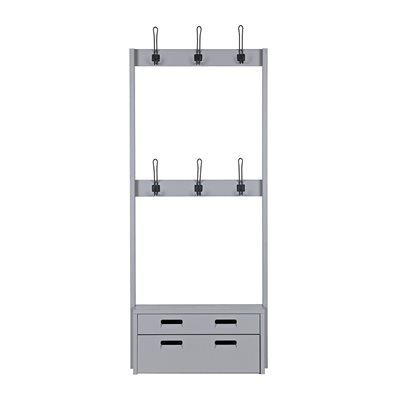 HOOKED COAT RACK WITH STORAGE in Concrete Grey