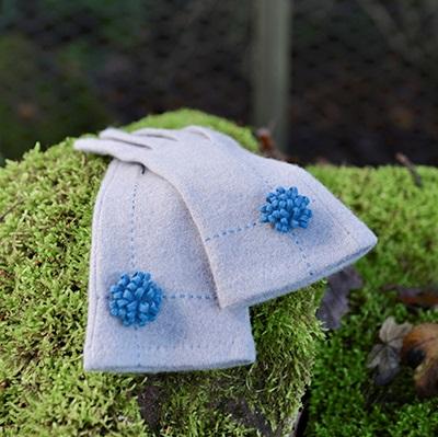 JUDY Women's Designer Wool Gloves in Pale Grey