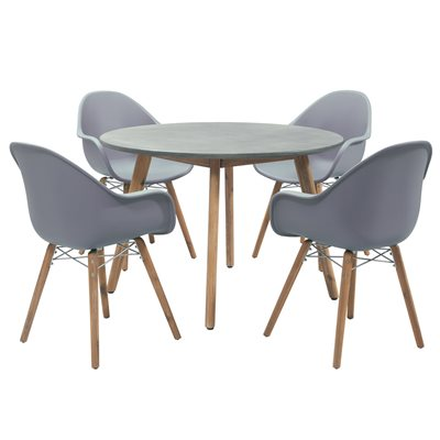 ZARI 4 SEAT ROUND DINING TABLE AND CHAIRS SET in Anthracite Grey