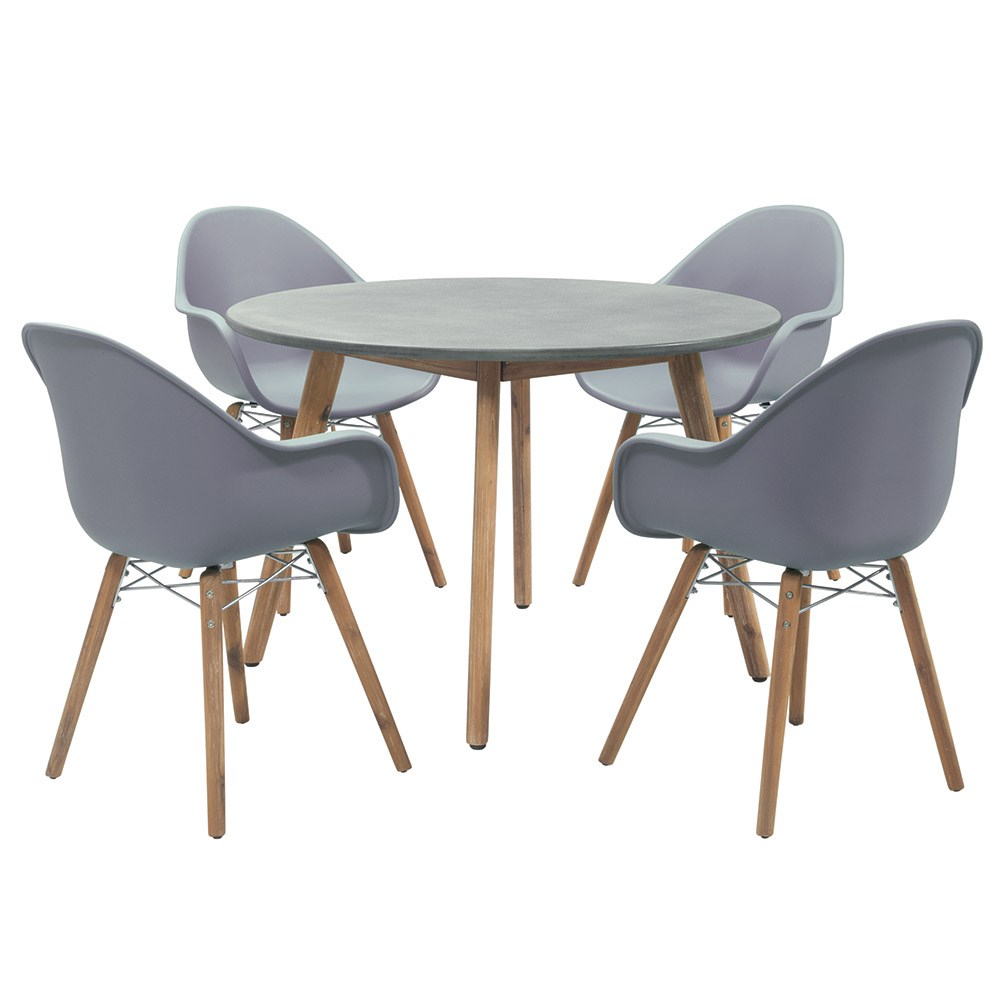 Round Dining Table With 4 Chairs: Zari 4 Seat Round Dining Table And Chairs Set In