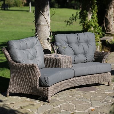 VALENTINE RATTAN LOVE SEAT WITH OPTIONAL FOOTSTOOL IN PURE by 4 Seasons Outdoor