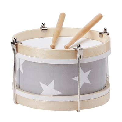 CHILDREN'S WOODEN TOY DRUM in Grey