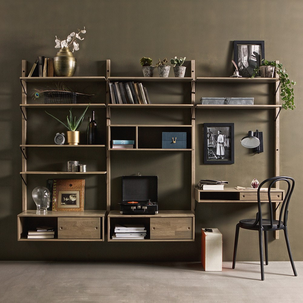 Living Room Storage Units Wall: Gyan Bespoke Wall Storage Unit - Woood