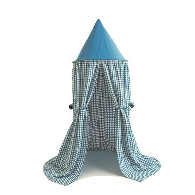 HANGING PLAY TENT in Sky Blue Gingham by Win green