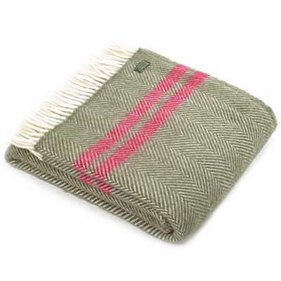 TweedMill Fishbone Two Stripe Olive & Rouge Wool Throw