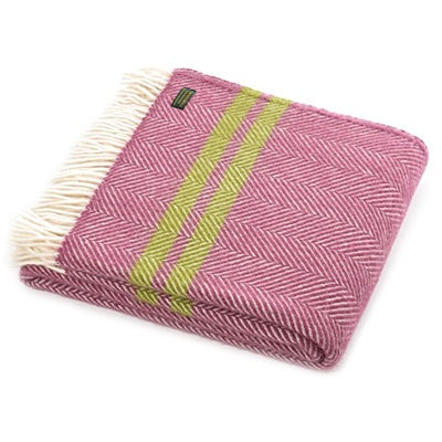 TweedMill Fishbone Two Stripe Mulberry & Apple Wool Throw