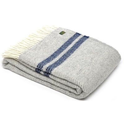 TweedMill Fishbone Two Stripe Silver Grey & Navy Wool Throw