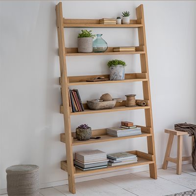GARDEN TRADING HAMBLEDON WIDE OAK LADDER SHELF