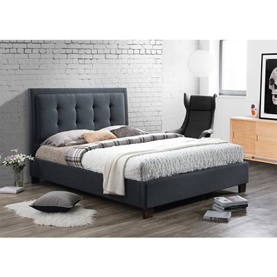 HAMILTON UPHOLSTERED BED in Charcoal by Birlea
