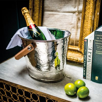 CULINARY CONCEPTS LUXURY WINE COOLER with Leather Handle and Champagne Hammered Finish
