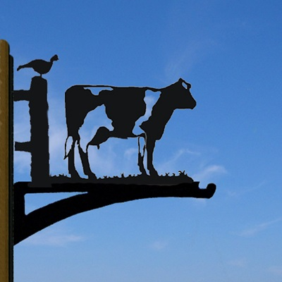 HANGING BASKET BRACKET in Buttercup Cow Design
