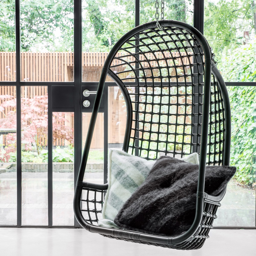Indoor Rattan Hanging Egg Chair In White Hanging Chairs