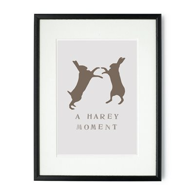 A HAREY MOMENT FRAMED HARE PRINT by Raw Xclusive