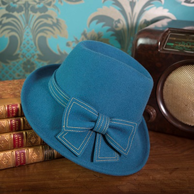 HEDY Pure Wool Designer Women's Hat in Teal & Mustard