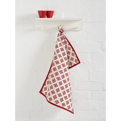 HAZUKI KITCHEN TEA TOWEL in Red & White