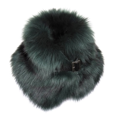 HELEN MOORE FAUX FUR BUCKLE COLLAR in Spruce