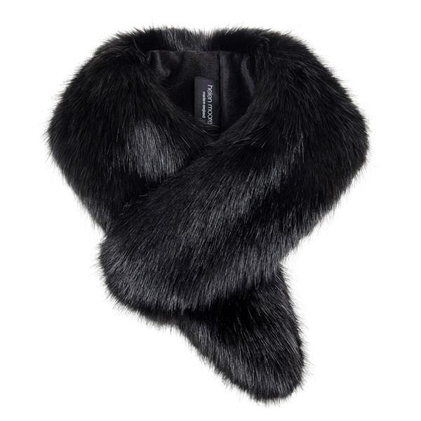 Helen Moore Faux Fur Vintage Collar Scarf in Jet Black