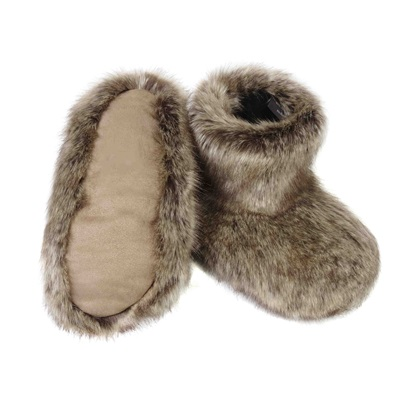 FAUX FUR SLIPPER BOOTS in Truffle