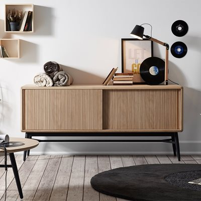 HENDRIX WOODEN SIDEBOARD in Black and Oak