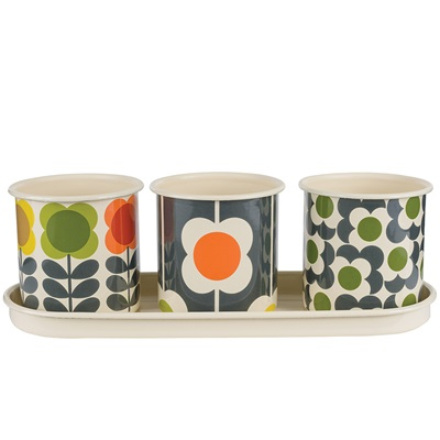 ORLA KIELY SET OF 3 Herb Pots
