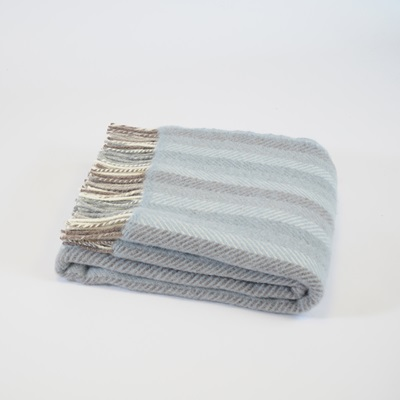 TweedMill PURE NEW WOOL THROW in Blue Stripe