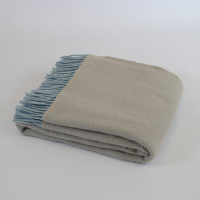 TweedMill PURE NEW WOOL THROW in Fawn & Duck Egg