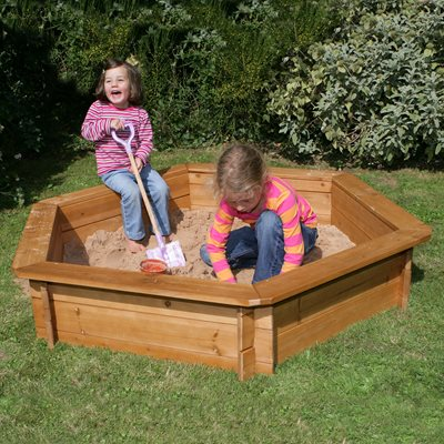 Wooden Hexagonal Sandpit Box with Cover by Garden Games