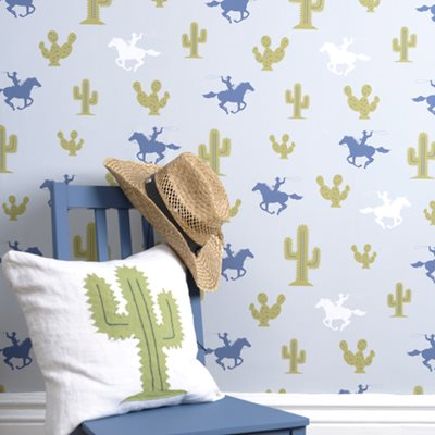 KIDS WALLPAPER Cactus Cowboy Design