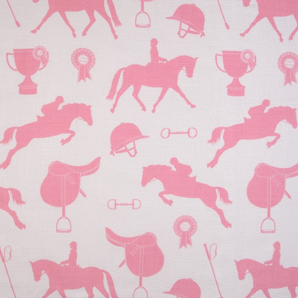 Gymkhana stylish fabric in sand coral pink metre length for Horse fabric for kids