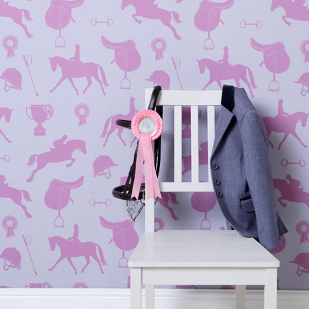 Lilac Bedroom Wallpaper Wallpaper In Gymkhana Fuchsia Kids Wallpaper Cuckooland