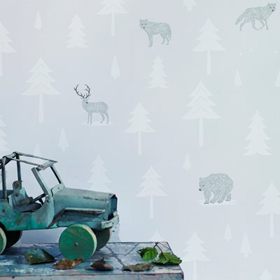 Kids Wallpaper Into the Wild Design in Arctic White & Taupe