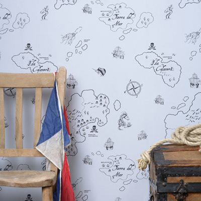 BOYS WALLPAPER in Pirate Black & Gull Grey