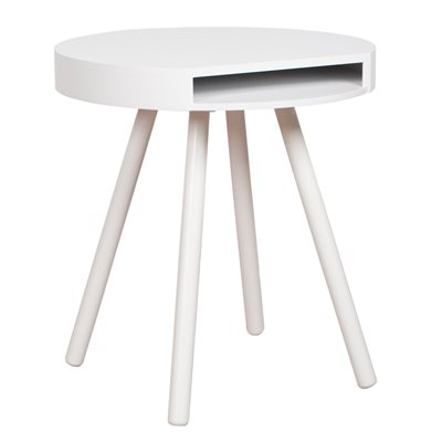 ZUIVER HIDE & SEEK LOUNGE SIDE TABLE WITH OPEN STORAGE in White