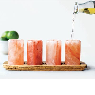 HIMALAYAN SALT SHOTS 4 Pack with Serving Board