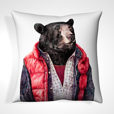 CUSHION in Woodland Bear Design