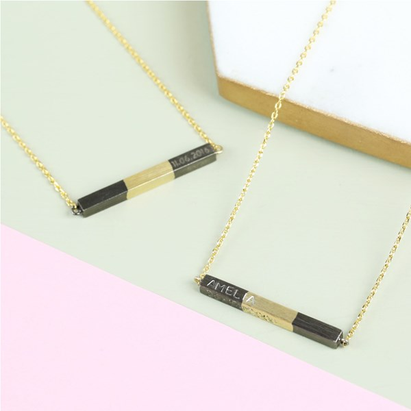 Personalised Horizontal Bar Necklace Dipped in Black & Gold