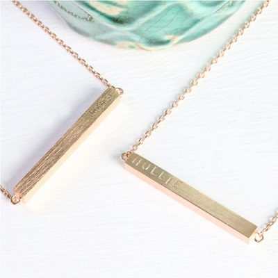 PERSONALISED HORIZONTAL BAR NECKLACE in Rose Gold