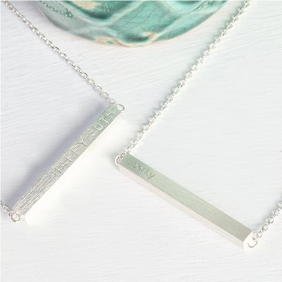 PERSONALISED HORIZONTAL BAR NECKLACE in Silver
