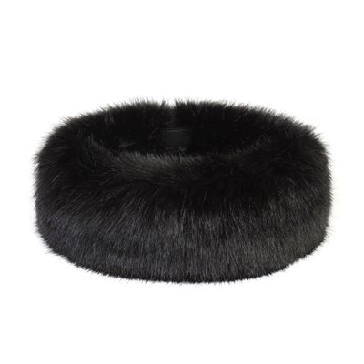 FAUX FUR HEADBAND HUFF in Luxury Jet Black